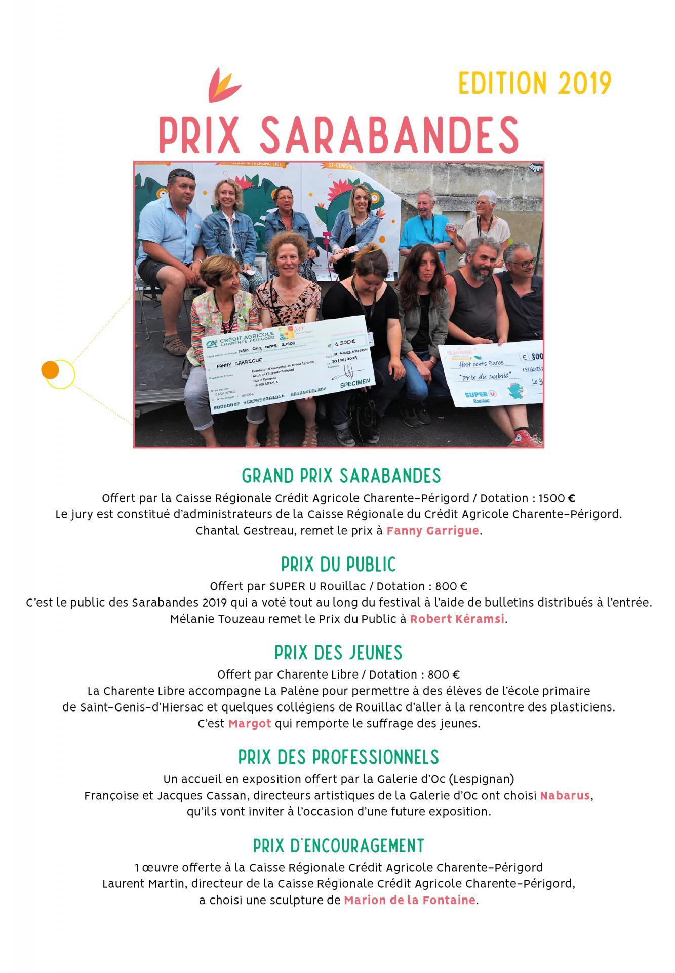Remise des Prix Sarabandes 2019